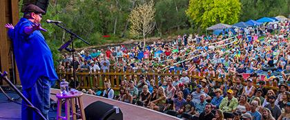 Shane Koyczan on the Folks Festival stage (photo: Benko Photographics)