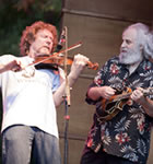 Sam Bush and David Grisman at RockyGrass (photo: Benko Photographics)