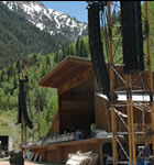 Speakers are hung for Telluride Bluegrass