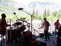 Omar Hakim, Jerry Douglas & Viktor Krauss at Telluride Bluegrass (photo: Benko Photographics)