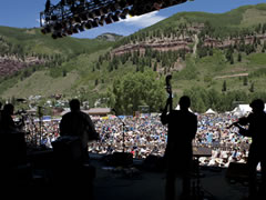 On-stage at Telluride Bluegrass (photo: Benko Photographics)