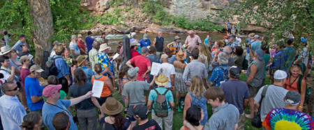 "RockyGrass Academy ""graduation ceremony"" along the St. Vrain River (photo: Benko Photographics)"