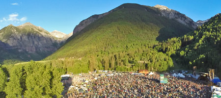 Aerial view of the 41st Annual Telluride Bluegrass Festival (photo: Brett Schreckengost)