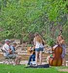 Jamming along the St. Vrain during RockyGrass Academy (photo: Benko Photographics)