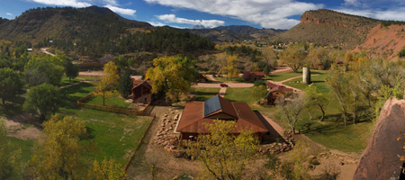 Aerial view of the Planet Bluegrass Ranch in Lyons, CO