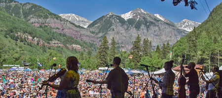 Yonder Mtn String Band on the Telluride Bluegrass stage (Benko Photographics)