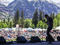 Chris Thile on the Telluride Bluegrass Stage (photo: Art Heffron)