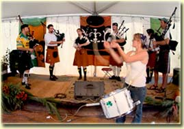 Bagpipe workshop in the Wildflower Tent