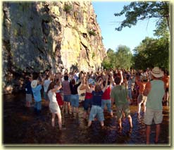 Song School graduation in the St. Vrain River