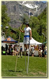 Stilt walker at Telluride Bluegrass
